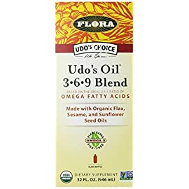 Udo's Choice Organic Omega 3-6-9 Oil Blend 32 Oz - Great Vegan Alternative To Fish Oil - Natural & Plant Based Unrefined Oil With Flax, Evening Primrose, Coconut, Sunflower & More - Made In the USA 8 <p>Flora Udo's choice oil, 3-6-9 blend, 32 ounce Vegan Omega 3 alternative to fish oil - udo's oil is a fantastic Vegan alternative to fish oil providing lots of Omega 3, 6, and 9. No fishy aftertaste, and no heavy metal or toxins to worry about! An extremely Pure plant based oil Made right here in the USA in our certified organic process. One of the highest quality products you can buy and our awards speak for themselves! Award winning blend - Better Nutrition's best of supplements Award winner and Alive retail & consumer choice Gold Award. Udo's oil is a mix of plant-based, unrefined, Certified Organic food oils. A reliable, undamaged source of polyunsaturated Omega-3 and -6 essential fatty acids (or EFAs) and Monounsaturated omega-9 fatty acids Plant based & Organic - 100% plant-based Omega-3 -6, and -9 oils from flax, sesame, and sunflower seeds, some organic MCTs from coconut oil, evening primrose, and more Ideal ratio - udo's oil has been used for decades because it provides the ideal ratio balance of 2: 1 Omega-3 to omega-6. Improves stamina, decreases recovery time, and speeds up the healing of injuries. Used by athletes all over the world. Versatile & Easy to use - the pleasant, nutty, buttery flavor of this oil is a great addition to all types of recipes. Just remember not to heat the oil. Try it in smoothies, shakes, soup (after cooking), steam vegetables, pasta, salad, and more!</p>