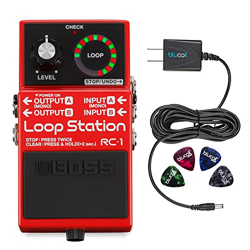 Boss RC-1 Stereo Loop Station -INCLUDES- Blucoil Power Supply Slim AC/DC Adapter for 9 Volt DC 670mA AND 4 Pack of Guitar Picks