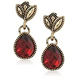Napier Gold-Tone and Red Post Drop Earrings