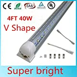 T8LED Tube Light Bulb, 4FT 40W, 80W Equivalent, T8 Shop Lighting, Double Side V Shape Integrated, Clear Cover, Cold White 6000K, AC85-265V, LED Cooler Door Lights - Pack of 25 Units