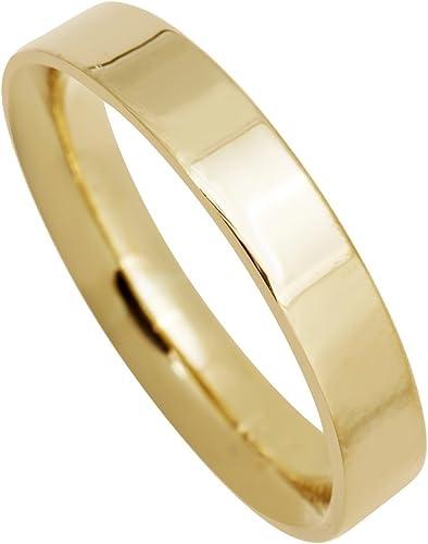 Mens 10K Yellow Gold 4mm Flat Traditional Wedding Band Ring