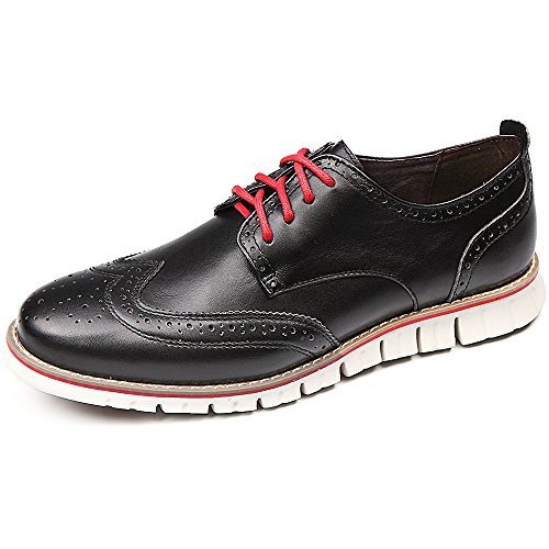 Laoks Men's Brogues Oxford Wingtip Genuine Leather Dress Shoes for Business Casual Lace-up (Black) by Laoks