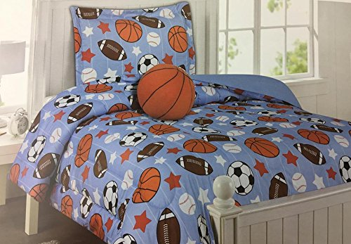 KIDS COLLECTION TWIN-SIZED SPORTS BALLS COMFORTER SET ON LIGHT BLUE BACKGROUND WITH DECORATIVE BASKETBALL PILLOW