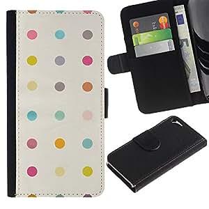 KingStore / Leather Etui en cuir / Apple Iphone 5 / 5S / Modelo de punto en colores pastel Clean curita;