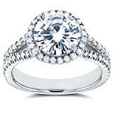 Forever One (D-F) Moissanite and Halo Diamond Engagement Ring 2 2/5 CTW 14k White Gold, Size 6.5