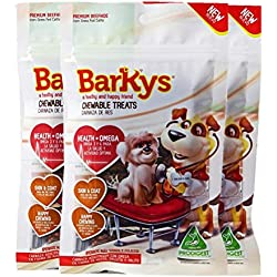 "BARKYS Carnaza Health + Omega, Sabor Carne, 10 Palitos Cortos, 3"", 3 Pack"