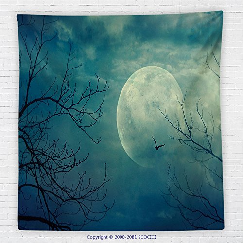 59 x 59 Inches Horror House Decor Fleece Throw Blanket Halloween with Full Moon in Sky and Dead Tree Branches Evil Haunted Forest Blanket Blue