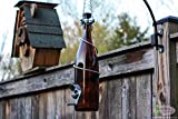 Amber and Silver Wine Bottle Bird Feeder - Gift for Mom - Outdoor - Patio - Handmade Wine Bottle Decor - Gifts for Women