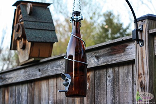 Amber and Silver Wine Bottle Bird Feeder - Gift for Mom - Outdoor - Patio - Handmade Wine Bottle Decor - Gifts for Women by Bottles Uncorked
