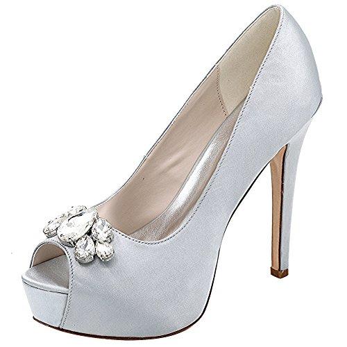 Loslandifen Femmes Peep Toe Sexy Stiletto Talons Hauts Pompes De Mariage Mariée Chaussures De Court (3028-01bchouduan38, Argent Satin)