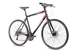 'Rueda de 28Cross Fitness Bike Bicicleta CHRISSON roadgun 2.0con 18velocidades Shimano Deore XT/Sora Negro, tamaño 55 cm, tamaño de rueda 28.00 inches