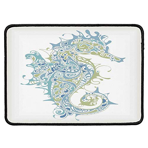 Animal Decor Ordinary Mouse Pad,Greek Art Textured Ancient Seahorse Idol of Spiritual Life Cycle Artwork for Computers Laptop Office & Home,9.84''Wx11.81''Lx0.12''H