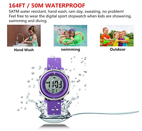 WUTONYU(TM) Children Digital Watch Kids Boy Girls LED Alarm Stopwatch Waterproof Wristwatches(Purple) by WUTONYU (Image #5)