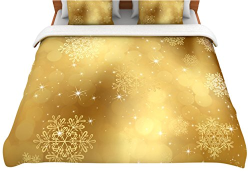 Twin Kess InHouse 68 by 88-Inch Snap Studio Golden Radiance Yellow Fleece Duvet Cover