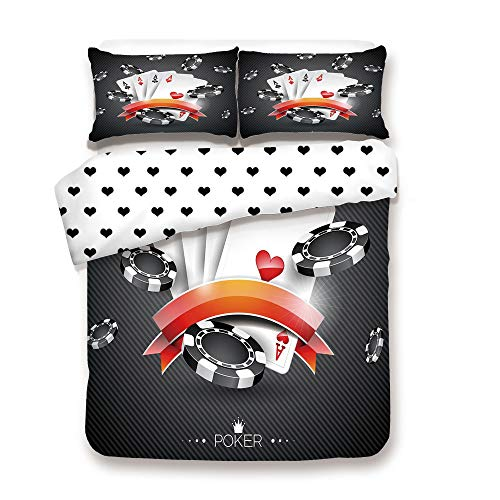 Duplex Print Duvet Cover Set Twin Size/Artistic Display Spread Chips with Poker Cards Lifestyle Decorative/Decorative 3 Piece Bedding Set with 2 Pillow Sham,Black White Red,Best Gift for Your - Poker Walking Set Dead