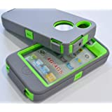 Iphone 4 4S Body Armor Defender - Comparable to Otterbox Defender + 1pc 3ft data cable(Light Grey on Green)