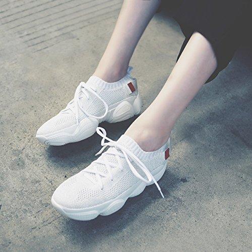 Muffin Maille Blanc DIDIDD Respirante Dentelle Décontracté Fond D'Exécution en Épais Femmes Cours 38 Chaussures wzz7Exnq4r