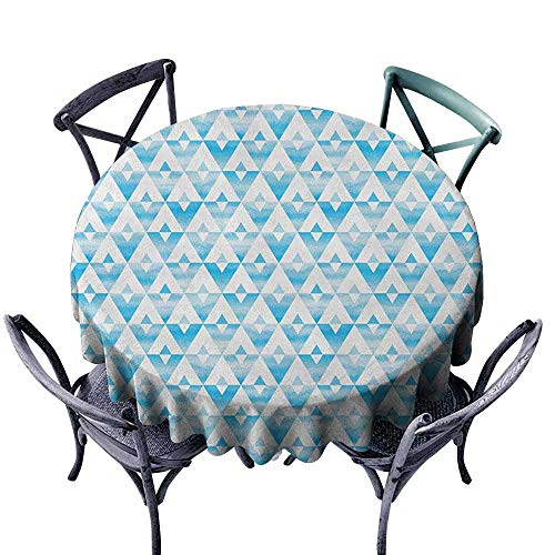 ScottDecor pad Round Tablecloth Fabric Tablecloth Modern,Geometric Contemporary Shapes Triangle Line with Clear Cloud Backdrop Image, Pale and Baby Blue Diameter 50