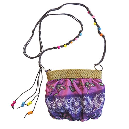 Beaded Small Crossbody Strap Handbag Print Purple ZayyEA0c