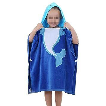 AndyJerzy Toalla de natación de Playa de Secado rápido Toalla de baño con Capucha para niños/niñas Varios diseños (Color : Blue Dolphin): Amazon.es: Hogar