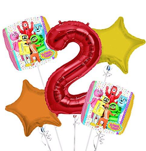 Yo Gabba Gabba Balloon Bouquet 2nd Birthday 5 pcs - Party Supplies