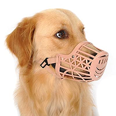 Freerun Pet Dogs Muzzle Adjustable Quick Fit Plastic Muzzle Basket Cage Dog Muzzle - Color: Beige