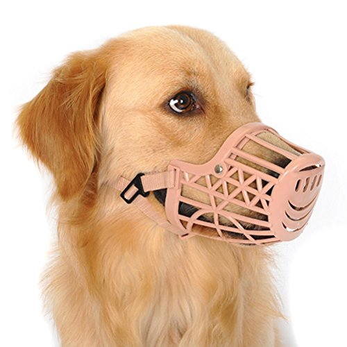 Freerun Pet Dogs Muzzle Adjustable Quick Fit Plastic Muzzle Basket Cage Dog Muzzle - Color: Beige, Size S
