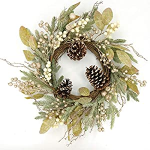 Idyllic 21 Inch Christmas Wreath with Pine Cones, Berries for Front Door, Wall, Mantelpiece, Window Decoration, Home Décor
