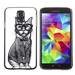 Licase Hard Protective Case Skin Cover for Samsung Galaxy S5 - Funny Sophisticated Hipster cat