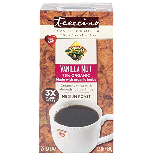 Caramel French Tea - Teeccino Herbal Coffee, Vanilla Nut, Caffeine-Free, 25-Count Tea Bag