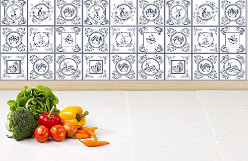 Tiles Stickers Tiles for Stairs Tiles for Kitchen Tiles for Bathroom Tiles for Fridge Delft Blue PACK OF 30 (4 x 4 Inches)