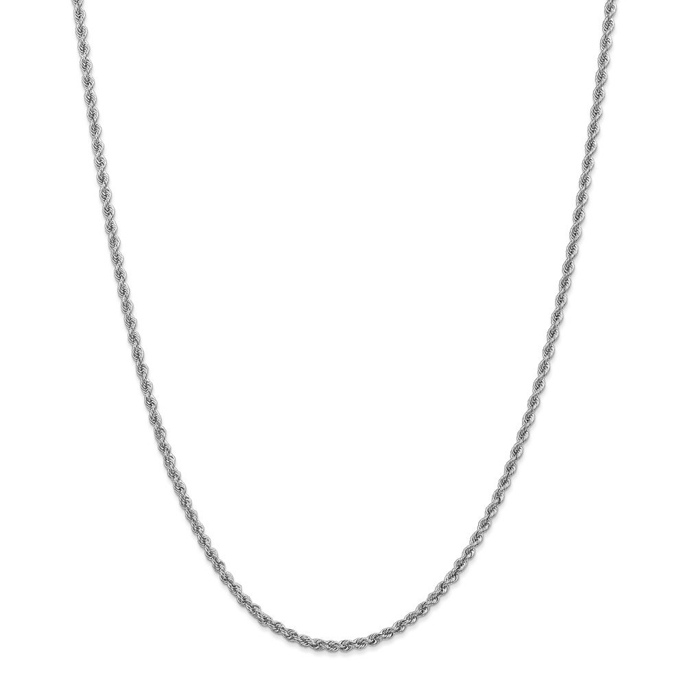 FB Jewels Solid 14K White Gold 2.5mm Handmade Regular Rope Chain Bracelet//Anklet
