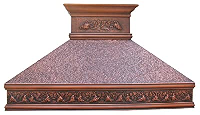 """Sinda H10BA Copper Range Hood with Powerful One-Piece Liner Hand Hammered Texture with Antique Copper Patina Width 30"""" 36"""" 42"""" 48"""""""