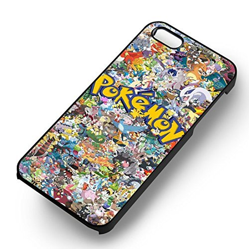 Unique Go Pokemon Collage pour Coque Iphone 5 or Coque Iphone 5S or Coque Iphone 5SE Case (Noir Boîtier en plastique dur) M1C4LZ
