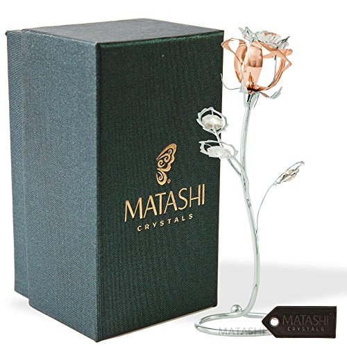 Matashi Rose Flower Tabletop Ornament w/Clear Crystals, Long-Stem, Metal Decorative Home Décor | Elegant Craftsmanship (Single Rose Medium, Rose Gold) - Gold Clear Crystal