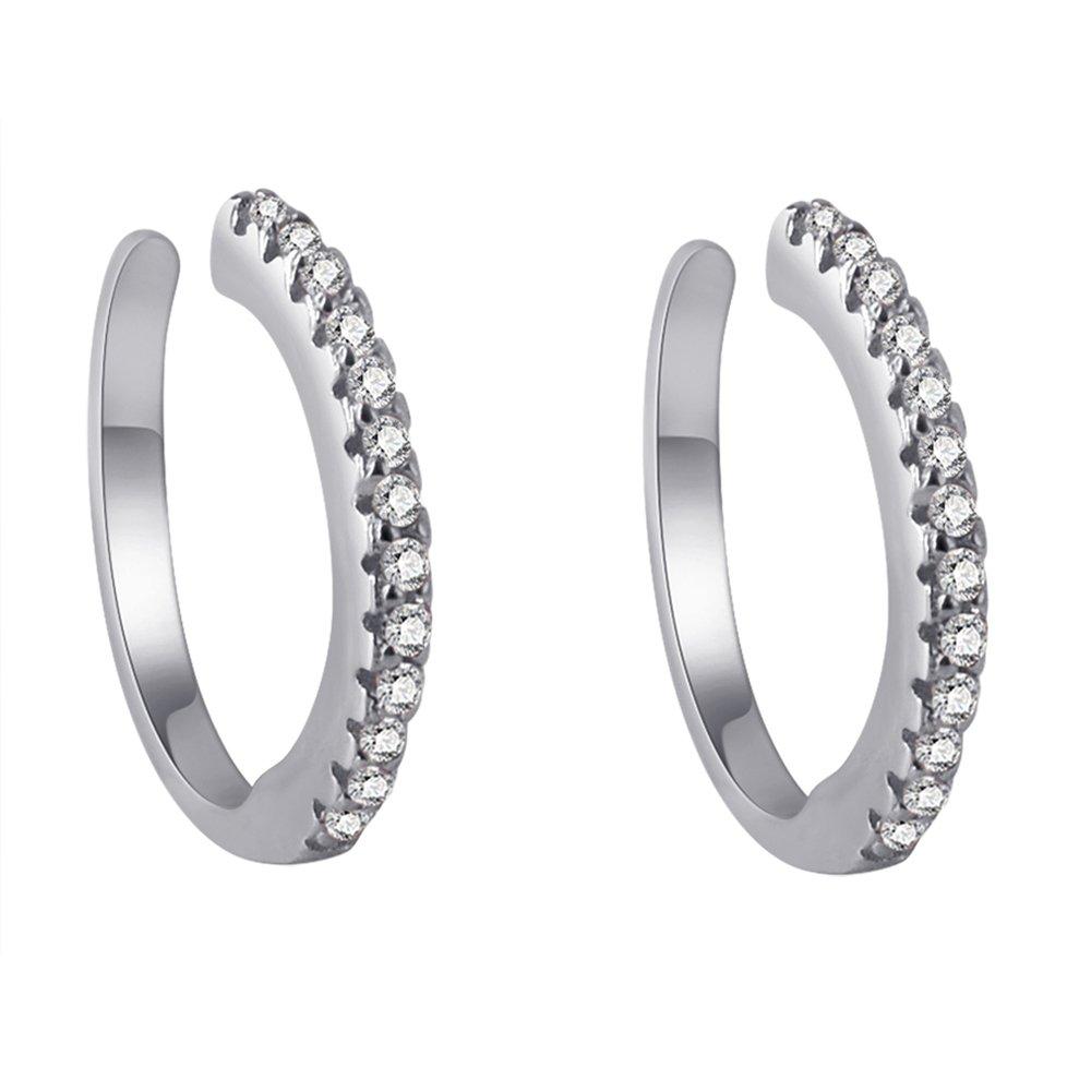 Sterling Silver Ear Cuff No Piercing CZ Ear Wrap, Pair of 2, Rhodium Plated