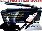 #5: Steam Ceramic Hair Straightener Flat Iron - Professional Hair Salon Steam Styler Ionic Steamer 3-in-1 | Straightner Curler Flip-up | For Argan Oil Hair Treatment, Vapor | PureBlackMagic by TRENDY PRO