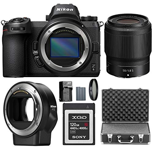 Nikon Z6 FX-Format Mirrorless Digital Camera with Nikkor Z 50mm f/1.8 S Lens and Mount Adapter FTZ with 120GB XQD Card and Accessory Bundle
