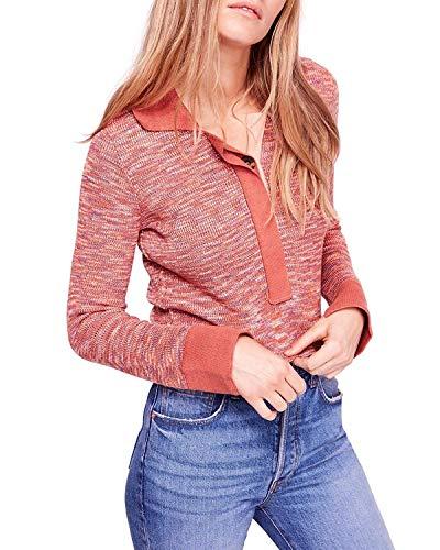 Free People Womens Making Memories Cropped Boho Henley Sweater Orange S