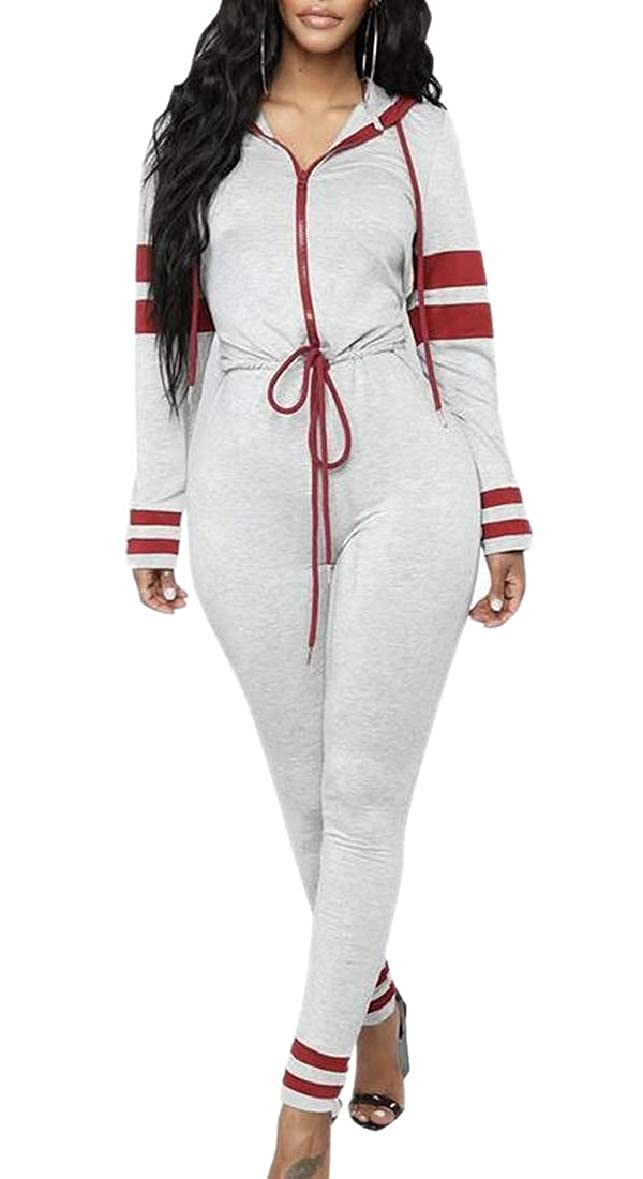 ouxiuli Womens Long Sleeved Front Zipper Long Pants Bodycon Hood Rompers Playsuits