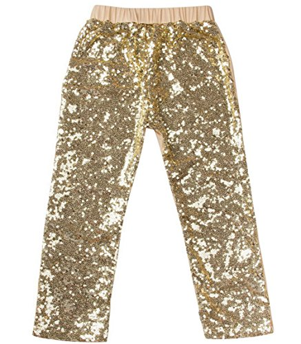 Messy Code Girls Leggings Baby Sequin Pants Toddler Trousers Boutique Clothes Gold,Lt (Disco Themed Clothes)