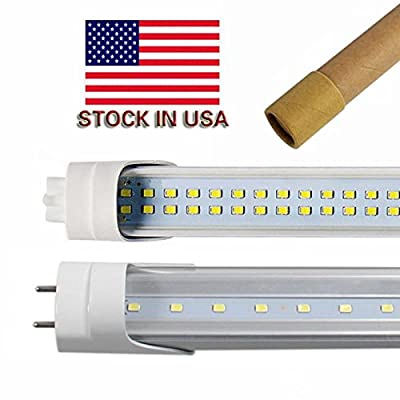 T8 T10 T12 LED Light Tube, 4FT, Dual-End Powered, Easy Ballast Removal Installation, 22W (48W equivalent), 2340 Lumens, 6000K 5000k Clear/Milky Cover Lens, US SHIP
