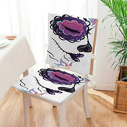 Mikihome Beautiful Chair Cushion The Dead Decor Sugar Skull Girl Face with Make Up Hand Drawn Mexican Indoor and Outdoor Cushion Mat:W17 x H17/Backrest:W17 x H36 by Mikihome