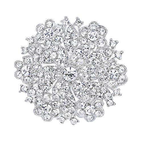 (EVER FAITH Women's Austrian Crystal Elegant Flower Wedding Corsage Brooch Pin Clear)