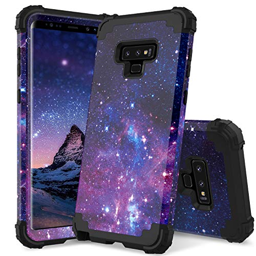 YINLAI Note 9 Case Samsung Galaxy Note 9 Case 3 Layer Heavy Duty Full Body Shockproof Slim Hybrid Soft Silicone Rubber Rugged Bumper Hard PC Cover with Space Stars Universe Design Phone Cases Purple
