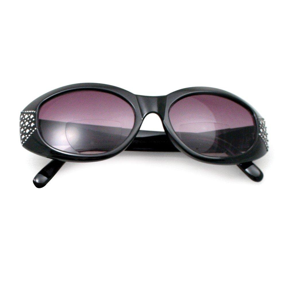 Jewelry Best Seller Black w/Metal Studs 2.75 Magnification Bifocal Sun Reading Glasses