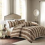 Madison Park Zuri Full/Queen Size Bed Comforter Set - Tan, Animal – 4 Pieces Bedding Sets – Faux Fur Bedroom Comforters