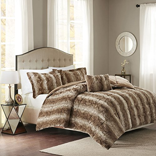 Madison Park Zuri Full/Queen Size Bed Comforter Set - Tan, Animal – 4 Pieces Bedding Sets – Faux Fur Bedroom (Mink Fur Pillow)