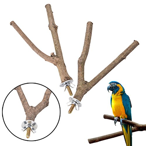 (SNNplapla 2pcs Bird Parrot Natural Wood Fork Stand Perch Toy-15CM Birdcage Stands Pet Bird Toys)