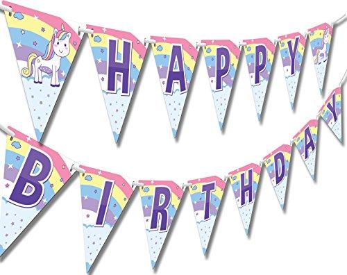 Papery Pop Unicorn and Princess Happy Birthday Banner - Kids Birthday Decorations for Girls - Rainbow Unicorn Party -